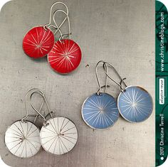3 Pair Starburst Tiny Basin Earring Grab Bag | Stocking Stuffers | Recycled Art | Art Gift | Art Jewelry | Upcycled Jewelry | Tin Jewelry by Christine Terrell for adaptive reuse