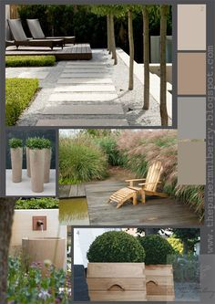 1.landscaping by Peter Fudge 2.colour palette suggestion by The Paper Mulberry 3.grasses (Miscanthus) and decking at Le Jardin Plume in Normandy France from the fabulous garden blog 'Out of my Shed' 4.contemporary oak planters from the divine architectural web site Herbosch Van Reeth - Belgium 5.stone water feature detail from Arne Maynard's heavenly garden for Laurent Perrier - the Chelsea Flower Show 2012 6.stunningly tall contemporary plant pots by Atelier Veirkant