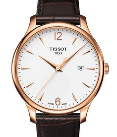 Tissot Watch, Men's Swiss Automatic Tradition Brown Leather Strap - Men's Watches - Jewelry & Watches - Macy's - mens and womens watches, mens automatic watches, cheap mens fashion watches Gents Watches, Casual Watches, Cool Watches, Watches For Men, Wrist Watches, Tissot Mens Watch, Men Watch, Watch 2, Brown Leather Strap Watch