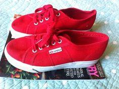 red platform sneakers. superga.