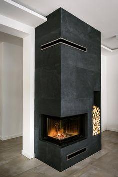 Modern Fireplace Decor, Home Fireplace, Living Room With Fireplace, Fireplace Surrounds, Fireplace Design, House Extension Design, House Design, Vaulted Ceiling Kitchen, Modern Home Office Desk