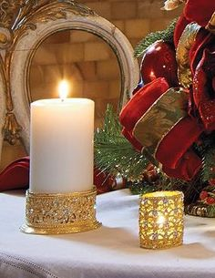 An intricate cut-out design and stunning finishes make up the Windsor Pillar Candle Cuff that adds a touch of elegance to your holiday display.