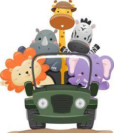 Illustration Featuring Cute Safari Animals on a Road Trip. Free art print of Safari Animal Truck. Jungle Clipart, Jungle Cartoon, Safari Jeep, Jungle Theme Birthday, Cute Lion, Elizabeth Craft Designs, Safari Party, Jungle Safari, Free Art Prints