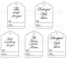 This SWAPPERS DELIGHT TAG printable set features 5 tags. The tags are approx. a little smaller then 3 x 2 inches. This set is perfect if your involved in a lot of swaps and great for adding to hostess gifts....