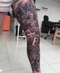 Amazing legpiece by Gangsta Tattoos, Chicano Tattoos, Badass Tattoos, Skull Tattoos, Body Art Tattoos, Maori Tattoos, Full Sleeve Tattoos, Tattoo Sleeve Designs, Forearm Tattoo Men