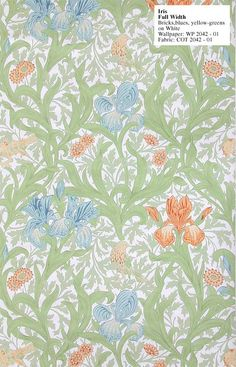 William Morris Reproduction wallpaper - Iris. Designed by J.H. Dearle in 1887. $189 per 33' (double) roll.