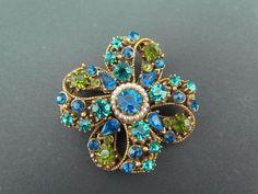 Vintage FLORENZA Signed Gold Tone Green & Blue Rhinestone Faux Pearl Brooch Pin #Florenza