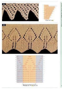 The new knitting stitch library Lace Knitting Stitches, Lace Knitting Patterns, Knitting Charts, Lace Patterns, Knitting Designs, Hand Knitting, Stitch Patterns, Knit Edge, Knit Stitches