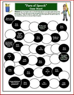 Writing Game Board for Parts of Speech ActivityThis is a game board that can be printed off and used for some fun practice with verbs, nouns, a... Teaching Social Studies, Teaching History, Student Teaching, Parts Of Speech Games, The Whipping Boy, Earth Day Games, Common Core Reading Standards, The 39 Clues, Stone Game