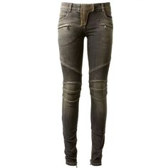 Balmain Black Washed Biker Jeans (14.265 CZK) ❤ liked on Polyvore featuring jeans, pants, bottoms, balmain, biker jeans, brown skinny jeans, black wash jeans and zipper pocket skinny jeans