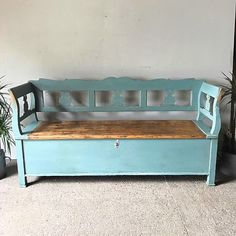 Benches - A decorative antique pine box settle in lovely pale blue painted finish - seat lifts, big storage area, very clean and solid. The antithesis of the flimsy modern repro, will last for many years to come. Bench With Storage, Storage Benches, Vintage Bench, Antique Boxes, Country Furniture, Wood Colors, Furniture Making, Home Improvement, Folk Art