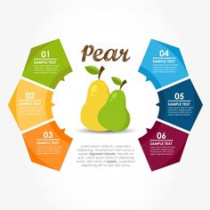 Infographic template with pears Free Vector