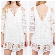 Cold Shoulder Bohemian Crochet Dress Lace detail3/4 inch sleevespartially lined100% cotton.                                            XS (0-2) Small (4-6) Medium (8-10) Large (12-14) Dresses