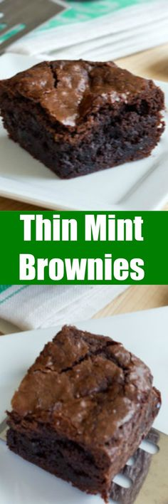 Thin Mint Brownies - Fudgy homemade brownies with thin mint cookies in each bite! Rich, chocolate-y and the perfect dessert.