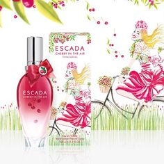 Escada goes on with the tradition of limited floral – fruity summer fragrances with an all-new 2013 fragrance named Cherry in the Air. Cherry in the Air is a real treat for those lovers of sour cherry aroma that stimulates the imagination. It is inspired by the French landscapes, bicycling through orchards, picking cherries and