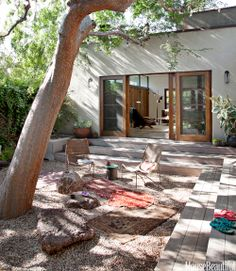 Japanese Inspired Stone Garden Courtyard - Backyard Spaces Decorating Ideas - House Beautiful