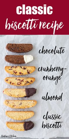 Classic Biscotti Recipe - 4 Ways This classic biscotti recipe makes the BEST biscotti cookies! Basic biscotti recipe plus recipes for almond biscotti, chocolate biscotti and cranberry orange biscotti. These homemade biscotti cookies are crispy and perfect Chocolate Chip Shortbread Cookies, Toffee Cookies, Biscotti Cookies, Yummy Cookies, Chocolate Chip Biscotti Recipe, Chocolate Biscuits, Almond Biscotti Recipe Italian, Best Biscotti Recipe, Christmas Biscotti Recipe