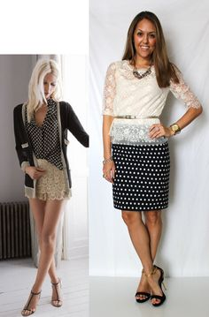 Polka dots & lace outfit #look #style  Find more Lace inspiration on http://www.inspirationbook.us/the-grace-of-the-lace