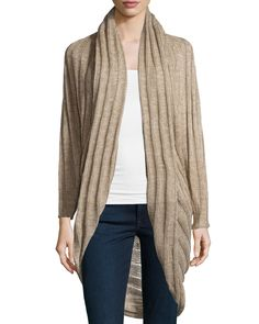 Neiman Marcus Ribbed Cocoon Cardigan, Fawn, Women's, Size: Medium
