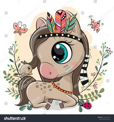 Cartoon Horse with feathers on a blue background. Cute Cartoon Horse with feathers on a blue background royalty free illustration Cute Cartoon Drawings, Cute Cartoon Animals, Cute Animal Drawings, Cute Baby Animals, Horse Cartoon Drawing, Cartoon Cartoon, Unicorn Pictures, Cute Horses, Free Illustrations