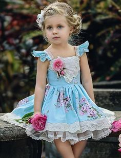 Flower Print Fly Sleeve Backless Self Tie Tiered Dress fashion holiday to school Beautiful Little Girls, Cute Little Girls, Little Girl Dresses, Girls Dresses, Frilly Dresses, Cute Dresses, Toddler Dress, Baby Dress, Toddler Fashion