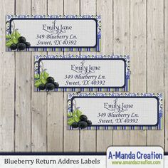 "Blueberry Party Printables from #AmandaCreation. Throw a ""Berry Sweet"" celebration with these fun themed blueberry printable return address labels"