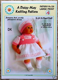 """DAISY-MAY *DOLLS KNITTING PATTERN *290* FOR  18/"""" to 20/"""" doll"""