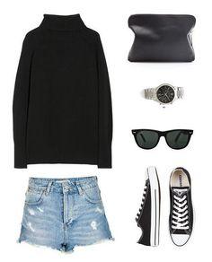 Donna Karen knit,Topshop denim shorts,Converse sneakers,Ray-Ban sunglasses,phillip Lim bag,Michael Kors watch(image:harperandharley)