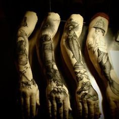 Guy le Tatooer's tattoo arm exhibition at the Gimpel & Muller gallery in Paris.