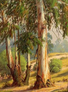 "Paul Grimm ""Eucalyptus in Griffith Park"" Oil on Board Watercolor Landscape Paintings, Watercolor Trees, Landscape Art, Watercolor Artists, Abstract Paintings, Oil Paintings, Painting Art, Watercolor Painting, Beautiful Paintings"