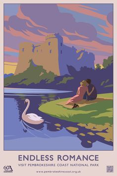 London design agency Hatched brought back the nostalgic travel poster design style with these Pembrokeshire coast national park summer and autumn campaigns. Posters Uk, Railway Posters, Pembrokeshire Coast, Tourism Poster, Vintage Travel Posters, Romance, National Parks, Portrait, Cymru