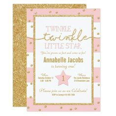 131 best glitter birthday party invitations images on pinterest glitter birthday party invitations twinkle twinkle pink and gold birthday invitation filmwisefo