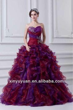 Fashion Puff Gorgeous Purple Organza Elegant Quinceanera Dress Pageant Gown…