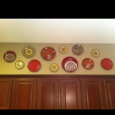 Hanging Plates On Soffett In Kitchen Love This Idea Because We Have A Bunch Of