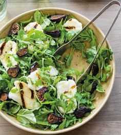 Halloumi, a Greek cheese that stays firm when grilled, is great when paired with dried figs for an unusual salad with a great mix of sweet and salty flavors. Fig Salad, Halloumi Salad, Herb Salad, Arugula Salad, Salad Bar, Soup And Salad, Baby Arugula, Williams Sonoma, Salads