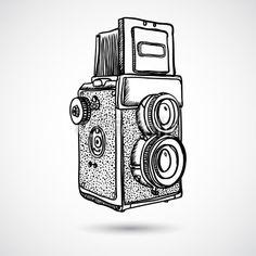 Vintage doodle camera hand-drawn vector image on VectorStock Camera Sketches, Camera Drawing, Camera Art, Cute Camera, Art Sketches, Camera Hacks, Digital Camera, Camera Doodle, Hipster Doodles
