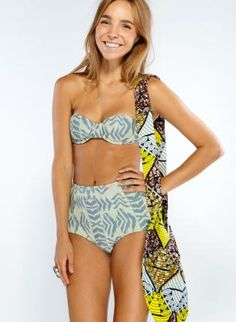 Tribal Print Swimsuit with Strapless Top Waist Bottoms,  Swimsuit, high waist bottoms  aztec print, Casual