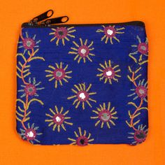 Blue hand embroidered mirrored purse by SaheliDesigns on Etsy