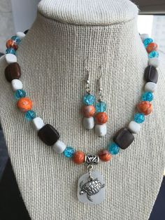 Authentic Sea Glass #seaglass beaded necklace and earring set #jewelry by SerasSeaGlass on Etsy