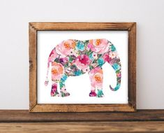 Printable Wall Art Elephant printable art by GracieLouPrintables Diy Nursery Decor, Baby Girl Nursery Decor, Boho Nursery, Rustic Nursery, Nursery Ideas, Room Decor, Nursery Artwork, Nursery Prints, Baby Elephant Nursery