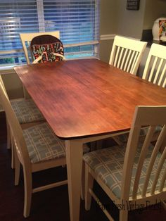 Table Transformation with General Finishes Gel Stain - Farm Fresh Vintage Finds Kitchen Table Redo, Kitchen Decor, Java Gel Stains, General Finishes, House Inside, A Table, Painted Furniture, Diy Home Decor, Kitchen Design