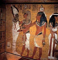 Ägyptische Malerei - Tut-anch-Amun und Osiris / Wandmalerei