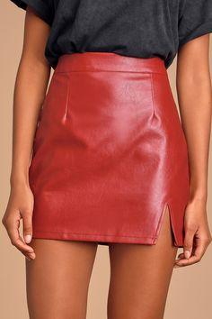 Corte Red Vegan Leather Mini Skirt