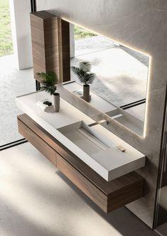 Cubik: modern furniture for designer bathroom décor - Ideagroup Modern Bathroom Design, Bathroom Interior Design, Modern Bathroom Furniture, Modern Furniture Design, Interior Ideas, Bathroom Sink Design, Modern Design, Modern Bathrooms, Bathroom Layout