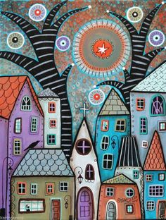 Dusk1 11x14 Cats Bird Houses ORIGINAL Canvas PAINTING Abstract FOLK ART Karla G..for sale..ready to hang...
