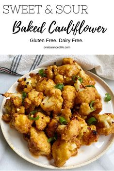Sweet & Sour Baked Cauliflower — One Balanced Life Side Dish Recipes, Vegetable Recipes, Low Carb Recipes, Vegetarian Recipes, Cooking Recipes, Healthy Recipes, Vegan Meals, Baked Cauliflower, Cauliflower Recipes