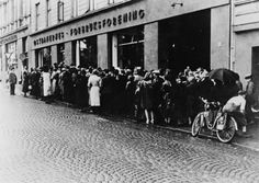 Norwegians queuing for food outside a store in occupied Oslo, 1942