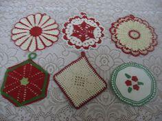 Lot of 6 Vintage Christmas Crocheted Potholders Xmas Kitchen Chic Crochet | eBay