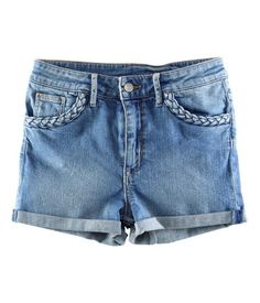 Cute appropriate denim shorts with braiding detail at pockets