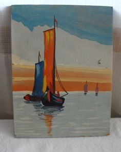 Vintage Dutch Painting/Acrylic Seascape/Unsigned/No by BYGONERA